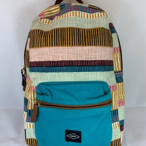 Fossil Multi Color Stripe Fabric Backpack